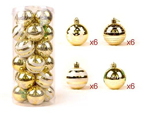 Eazyhurry Merry Christmas decorativo multicolore Natale, infrangibile albero di Natale ornamenti set 24pezzi in una sfera