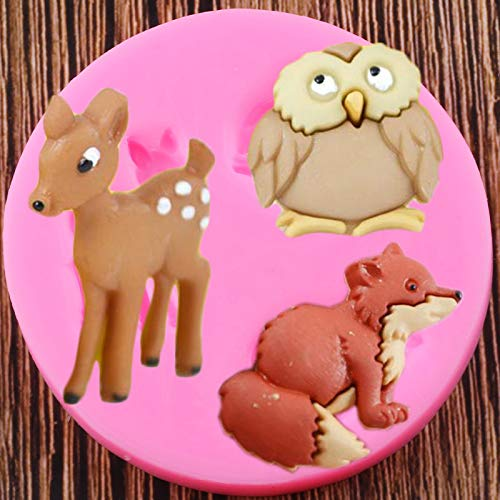 JIANCHEN Kuchenform Eule Fuchs Rehe Silikonformen DIY Weihnachten Fondant Kuchen Dekorieren Werkzeuge Cookie Backen Schokoladen-Süßigkeitsformen