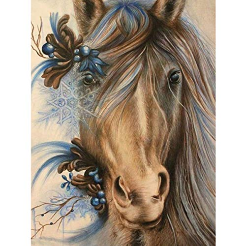 MXJSUA DIY 5D Diamond Painting Full Round Drill Kit Picture Art Craft Home Wall Decor 12x16In Horse