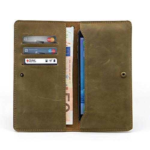 Manna Smart Wallet   Borsello Cover per Smartphone con Display da Fino a 6 Pollici   in Vera Pelle Nabuk Marrone   Scomparti per Smartphone Phablet, Carte di Credito, Banconote