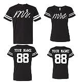 Mr Mrs Customized Couple Jerseys, Custom Names and Numbers Newlywed Anniversary Wedding Matching T-Shirts