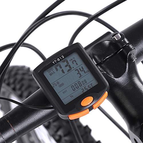 Voluxe Cronometro Bici, contachilometri Bici Nero Impermeabile, Multifunzione Leggero per Ciclismo all'aperto(Wired 813)
