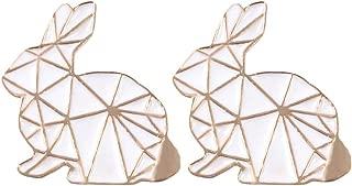 Charmart Rabbit Lapel Pin 2 Piece Set Geometric Rabbit Enamel Brooch Pin Jacket Denim Collar Bag Backpack Badges Gifts