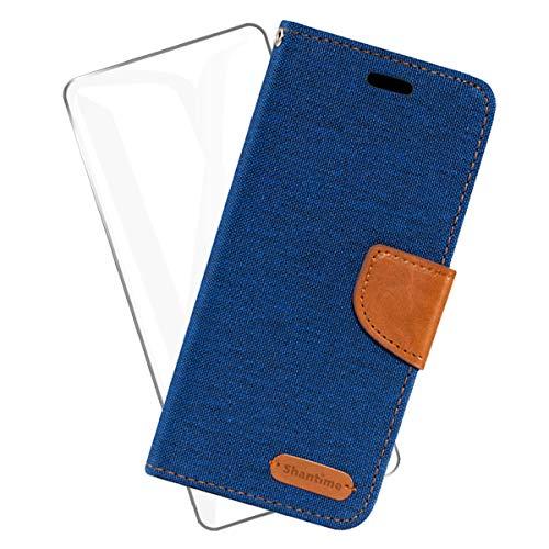 SCDMY Funda para Xiaomi Mi 11 Lite 5G Funda de Cuero + Cristal Templado, PU Flip Cuero Carcasa Protectora Ranuras Tarjetas Billetera Soporte Plegable Cierre Magnético Case Cover - Denim Azul