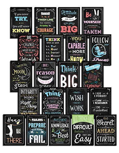 Inspirational Posters | Motivational Posters for Classrooms, School, Home, Office, or Teacher Posters for Classroom- Growth Mindset for Students, Kids & Teens - 21 Set Poster Pack