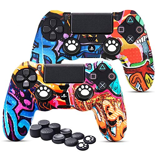 PS4 Controller Skins x 2, 6amLifestyle Silikon Anti-Rutsch Schutz-Hülle mit 10er Thumstick Aufsätze Griffen für PS4/ Slim/PRO Controller