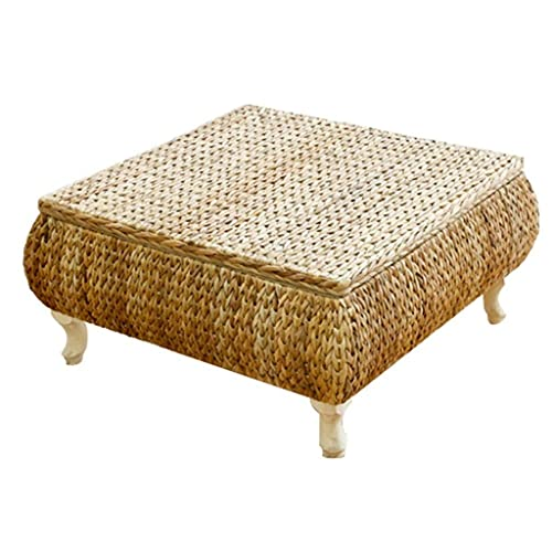 Tables Tea Table Rattan Japanese Coffee Table Living Room Bay Window Table Balcony Low Table Study Computer Desk (Color : Yellow, Size : 654530cm)