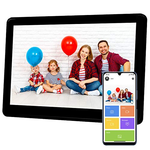 Atatat 10 Inch WiFi Digital Picture Frame with FHD 1920x1080 IPS Touch Screen, Send Photos or Videos via Email, Free App, Auto Rotate, Add Caption, Wall-Mountable, Portrait and Landscape