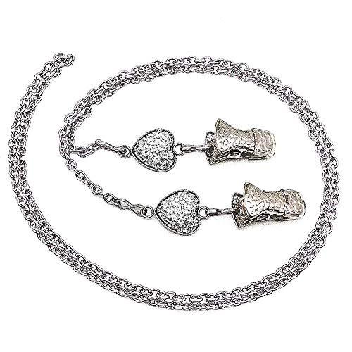 Glasses Chain Eyeglasses Strap Lanyard Holder Bling Stone Sunglasses Cord Clip-White Heart