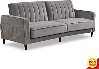 Sofa Bed Living Room Furniture Sets, Tufted Futon Wide Chaise Lounge Couch for 3 Seats, with Premium Velvet Upholstery and Wooden Legs, Grey