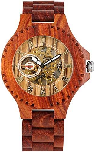 Hermoso Reloj mecánico automático de Madera para Hombres - Reloj de Madera de Cuerda automática para Mujeres - Correa Duradera de Madera marrón roja para Mujeres