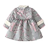 chinese new year dress baby girl kids Keep warm Traditional Cheongsam toddler baby Tang Clothing Dresses-Warm blue_90 cm