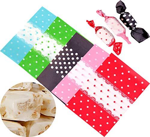 Liuer 500 Stück Bonbonpapier Süßigkeitspapier Verpackungspapier,Wachspapier Pergamentpapier Backpapier für Partys Hochzeiten feiern Geschenktüten und Süßigkeiten(5 Farben,9 x 12,5 cm)