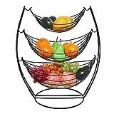 3 Tier Fruit Basket - Fruit Tree Bowl, Chrome Swinging Fruit Vegetable Bowl Basket Rack Storage Stand Holder, Modern Kitchen Countertop Storage Display Stand, by Fiona