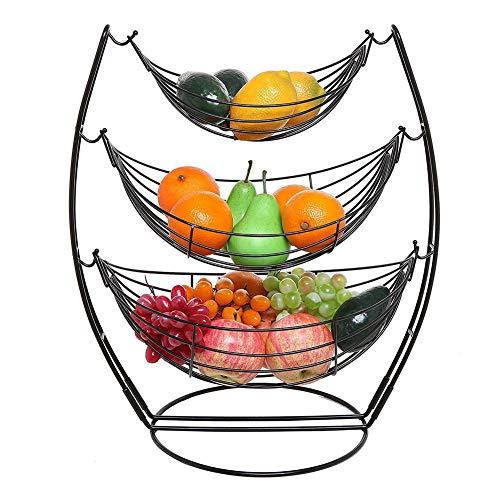 Fiona - Cestino per frutta a 3 ripiani, con supporto per frutta, verdura, in metallo cromato, per riporre oggetti da cucina