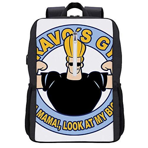 Bravos Gym Johnny Bravo Rucksack Daypack Bookbag Laptop Schultasche mit USB-Ladeanschluss