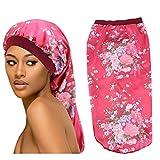 1 Pack Large Satin Sleep Bonnet Cap for Women & Girls, Elastic Wide Band Satin Bonnet Sleeping Night Cap & Hat for Natural Curly Hair, Long Braids (L-446WINE)