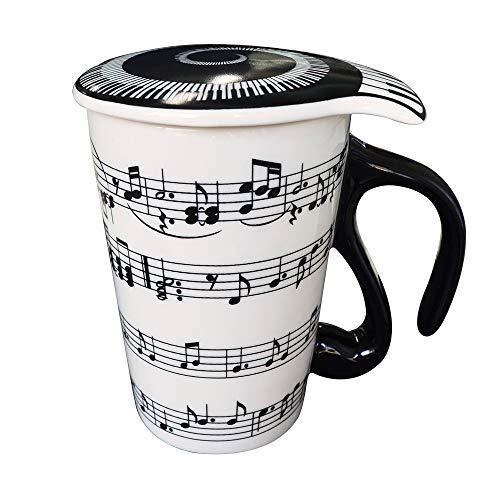 Giftgarden Tasse Weiß Kaffeetasse Cappucino Espresso lustige Teetasse mit Musiknoten-Abdruck, 0,4L