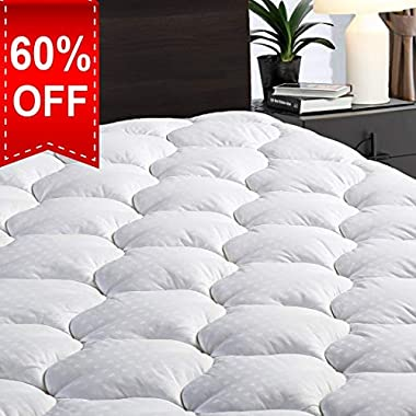 """LEISURE TOWN King Overfilled Mattress Pad Cover 8-21""""Deep Pocket Cooling Fitted Mattress Topper Snow Down Alternative Fill Cooling"""
