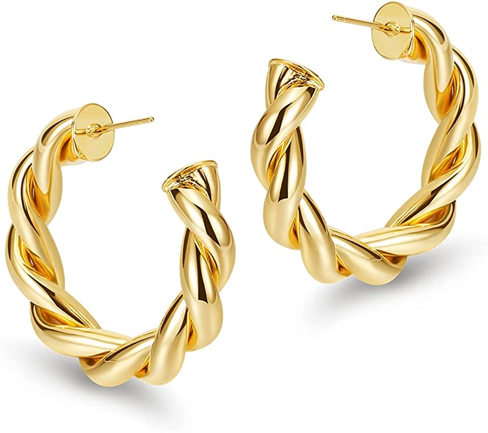 FAMARINE Gold Plated Twisted Hoop Earrings for Women 30MM 35MM Gold Hoops Chunky Earrings Gift
