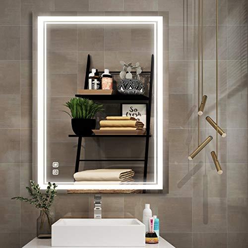 Espejo de tocador con luz LED para baño, 20 x 28 pulgadas, antivaho, impermeable, con botón táctil de 3000 K a 6000 K, montado en la...