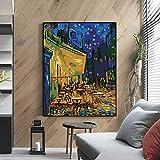 KWzEQ Imprimir en Lienzo Van Gogh Café Terrace, póster y Cuadros de la Pared para la Sala de estar70x90cmPintura sin Marco
