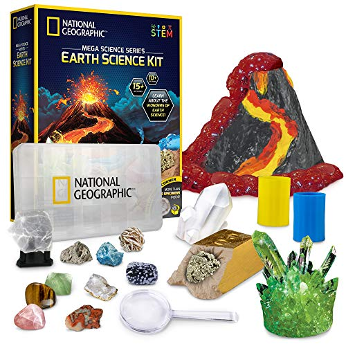 NATIONAL GEOGRAPHIC Earth Science Kit - Over 15 Science Experiments & STEM Activities for Kids, Includes Crystal Growing Kit, Volcano Science Kit, Great Gifts for Girls and Boys, an AMAZON EXCLUSIVE
