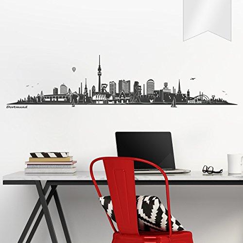 WANDKINGS Wandtattoo Skyline Dortmund 120 x 28 cm - Milchglasfolie - 35 Farben zur Wahl