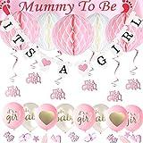 JWTOYZ Babyparty Deko Mädchen und Junge mit IT'S A Girl und It's A Boy Banner, 6pcs Honeycomb Balls, Mummy to be Schärpe, Hängende Wirbel, 15pcs Luftballons und Babyparty Konfetti