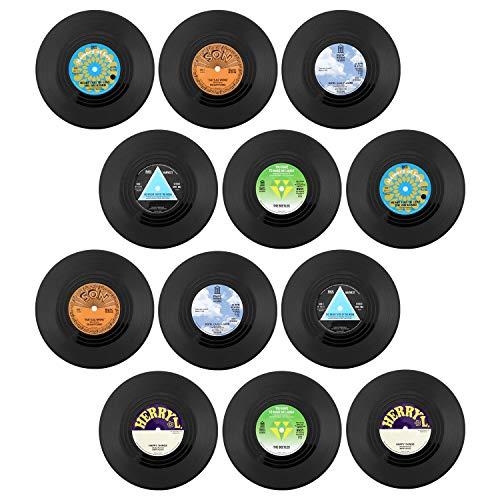 KEESIN Rutschfeste Vinyl Untersetzer, Retro CD Aufnahme Isoliert Kaffee Getränk Tasse Matte,12 Stück,Tippe A (Green)