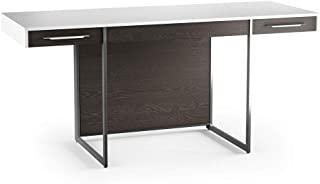 BDI Format Office Desk, White/Charcoal Stained Ash