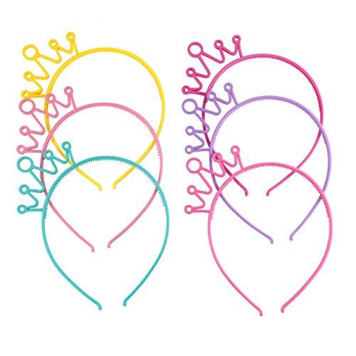Candygirl 6 Piezas Multicolor Diademas de Corona de Plástico con Dientes para Mujers Niñas