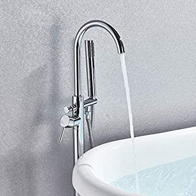Senlesen Single Handle Modern Freestanding Bathtub Shower Mixer Taps Clawfoot Tub Shower Faucets with Hand Sprayer Chrome Finish