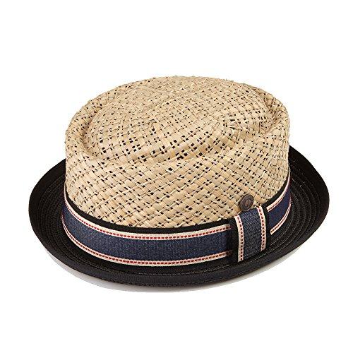 DASMARCA Jake Natural with Black Brim Summer Straw Porkpie Hat - S