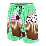 Alvaradod Trajes de baño Personalizados para Hombres,postres de Cupcakes Dulces con Lunares,Ropa de Playa Trajes de baño Shorts de baño Trajes de baño L