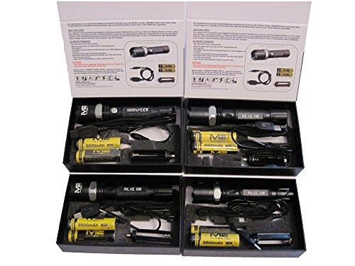 4 Stk. Swat LED Cree Polizei Taschenlampe + 8x 8800mAh Akku + 4x USB Ladekabel Zoom Light