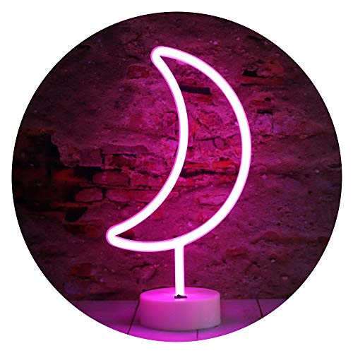 LED Neon Moon Lights, Moon Shape Neon Signs Crescent Night Lights Battery Operated Desk Table Lamp for Bedroom, Bar, Wall Decor-Moon with Holder Base(Pink)