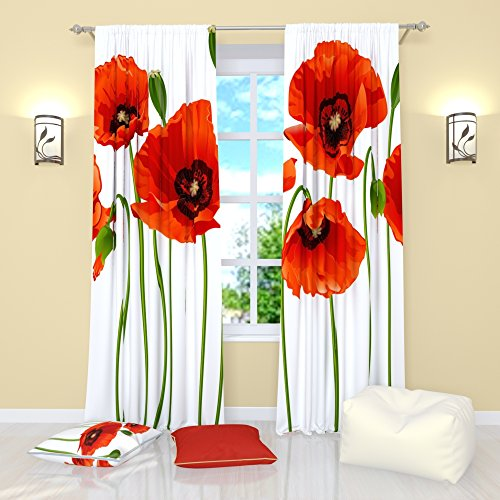 White Floral Curtains by Factory4me Red poppies. Window Curtain Set of 2 Panels Each W42 x L84 inches Total W84 x L84 inches Bedroom, Living Room
