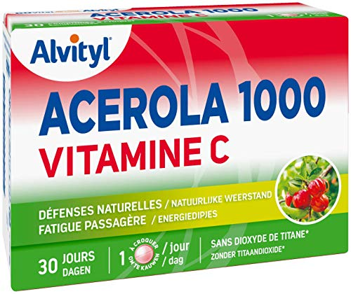 Alvityl Acerola 1000 Vitamine C Comprimés à croquer - goût cerise - Dès 12 ans - 30 comprimés