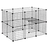 EUGAD Small Animal Playpen DIY Pets Cage Exercise Fence indoor for Bunnies Rabbits Hamster Chinchillas Hedgehogs black