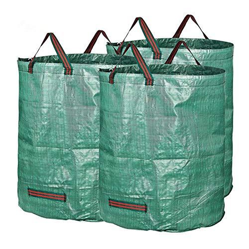 MILECN Paquete de 3 Bolsas de jardín Reutilizables de 72 galones, Bolsas de jardinería de Servicio Pesado, Bolsa de residuos de Hojas de jardín para Piscina de césped multipropósito
