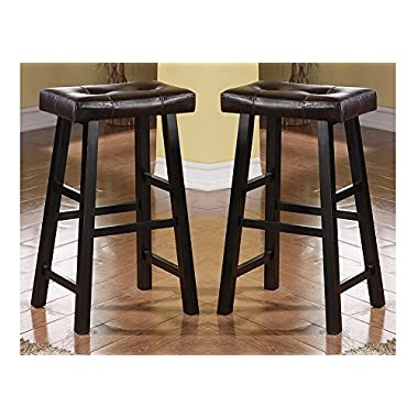 Bobkona Drake Set of 2, Country Series Bar Stool - 29  H - in Espresso Finish with Faux Leather