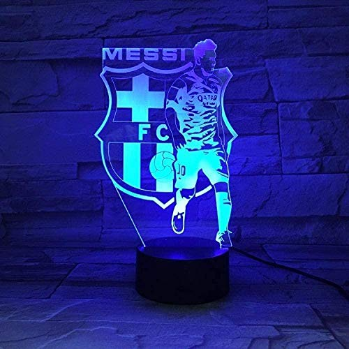 YOUPING Luz nocturna 3D Barcelona Messi Team Illusion Lámpara de mesa LED...