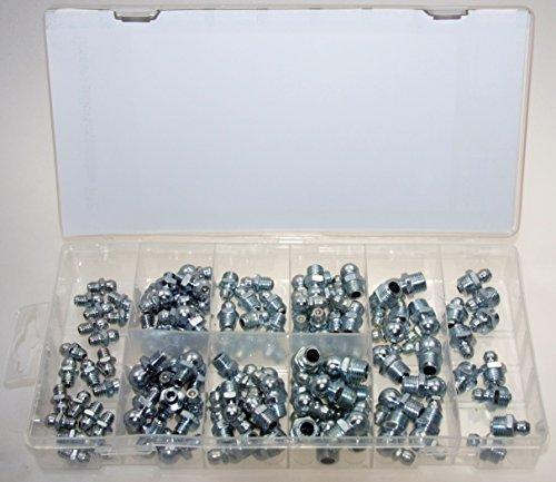 Hydraulik Schmiernippel Kegelnippel Fettnippel Sortiment für Schmierpressen M6 M8 und M10 in gerade 45 90° (im Aufbewahrungsbox/Sortimentsbox) 100-tlg.