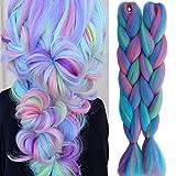Synthetic Braiding Hair Extensions for Box Braids and Twist Braids Hair 2 PCS Mix Color Afro Jumbo Braiding (PS55 Light Green-Light Blue-Light Purple-Light Pink)