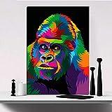 N / A Rahmenlose Malerei Tierplakat bunter Gorilla auf Leinwand Art Deco Malerei modulares...
