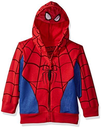 Marvel Big Boys' Spiderman Mask Costume Hoodie, Red, M-10/12