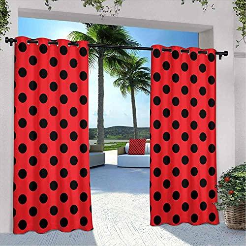 Cortinas impermeables rojas y negras, estilo retro vintage pop Art Old 60s 50s Rocker Inspired Bold Polka Dots Imagen, para casa de campo, cenador de la terraza, 108 x 96 pulgadas escarlata