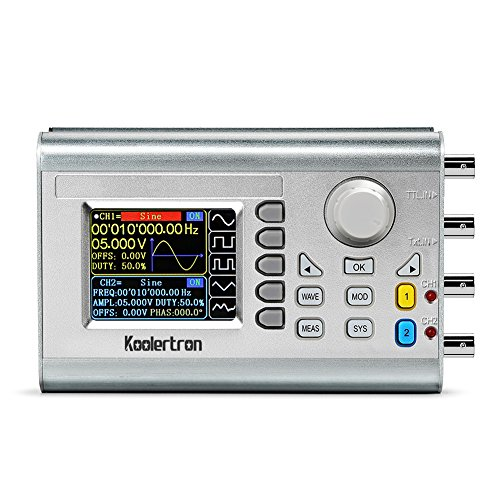 Koolertron 60MHz High Precision DDS Signal Generator Counter,Upgraded Dual-Channel Arbitrary Waveform Function Generator Frequency Meter 266MSa/s (60MHz)