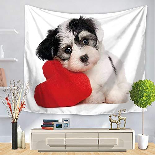 AdoDecor Pintura Animal Pug Perro Tapiz para Colgar en la Pared Decoración para Sala de Estar Decoración del hogar 150x110cm